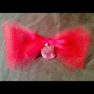 Red Vintage Bow with Rhinestone Apple Snow White